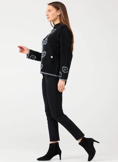 Sementa Taş Detaylı Fermuarlı Kadın Triko Hırka - Siyah Siyah